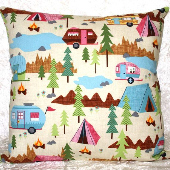 """Handmade and handcrafted pillow cover featuring a designer fabric of scenic camping images and trailers. It is sure to add charm to your home. This item can decorate your home or RV; on a bed, sofa, chair, or kitchen seating. Throw Pillow Cover • Cushion Cover • Decorative Pillowcase • Fits 14"""" x 14"""" Pillow • Glamping • Camping Decor • RV • Camper •FREE SHIPPING"""