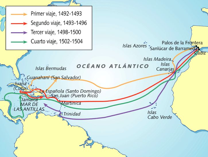 Este mapa enseña los 4 viajes de Cristóbal Colón.
