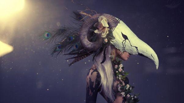 Wallpaper girl, flowers, profile, mask