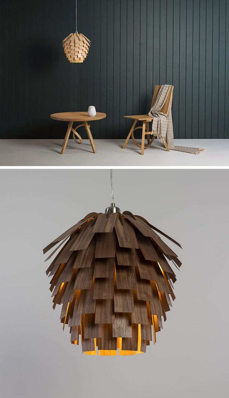 15 Wood Pendant Lights That Add A Natural Touch To Your Decor // Wood veneer strips are layered on top of each other to create a pendant light that looks like a pine cone.
