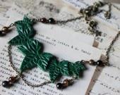 Collier au Lierre Précieux perlé d' Obsidienne oeil Céleste