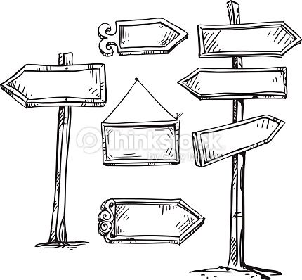 Arte vectorial : Set of signboards. Hand drawn.