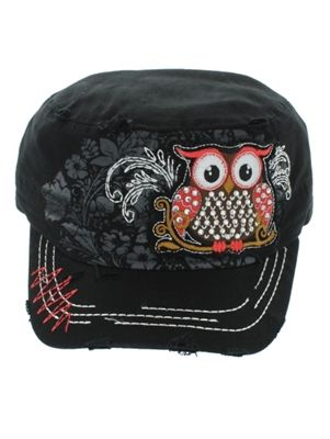 Trendy Owl Cadet Hat with Ponytail Hole - Black