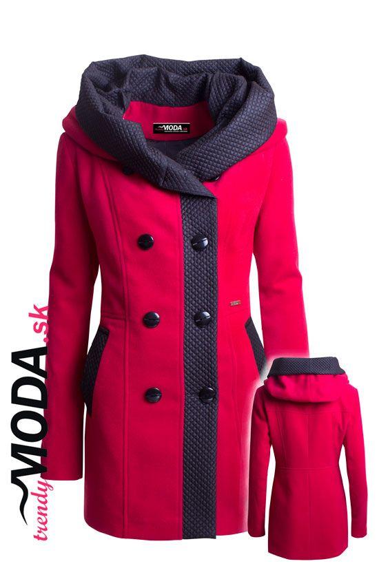 Červený zimný kabát s dvojradovým zapínaním, priliehavého strihu tvarujúceho postavu. - trendymoda.sk