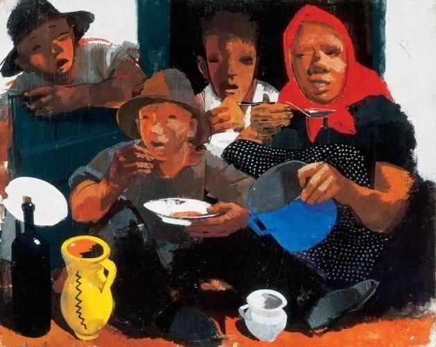Aba-Novák, Vilmos - Having Lunch - Novecento - Genre - Oil on cardboard