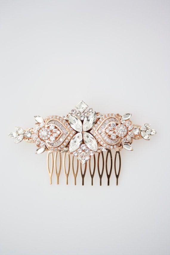Wedding Hair Accessories Rose Gold Hair Comb by LuluSplendor