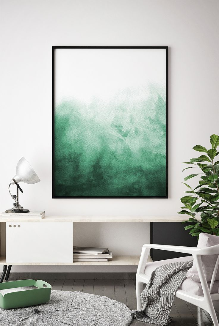 Abstract Watercolor Wall Art Watercolor Print Watercolor Green Painting Modern Home Decor Living Room Bedroom Pos Teal Decor Bedroom Posters Blue Home Decor #royal #blue #decor #for #living #room