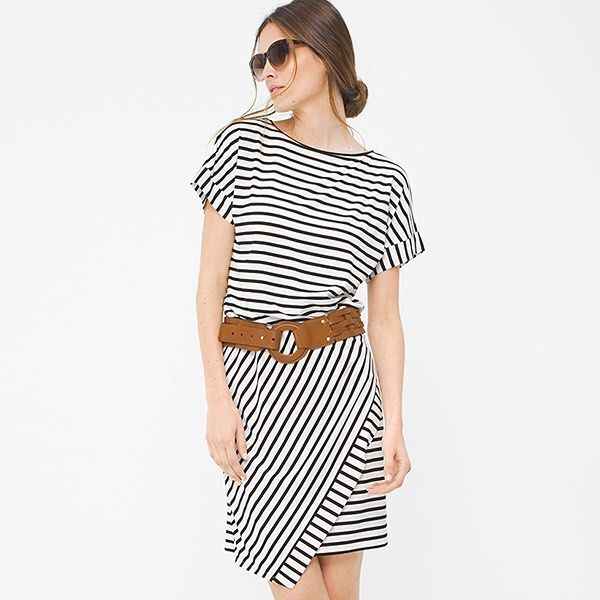 "This soft T-shirt dress represents the ease of summertime. Our stretch-jersey pullover features classic black and white stripes, made even more dynamic by its angled wrap skirt. A wide belt in a neutral tone makes the idyllic accoutrement to this stripe blouson dress. Short sleeve stripe wrap blouson dress Fully lined Rayon/spandex. Machine wash, cold. Approx. 36"" from shoulder Imported  dress female Black/White whbm ootd dresses & skirts Know your lines. #whbm #ootd"