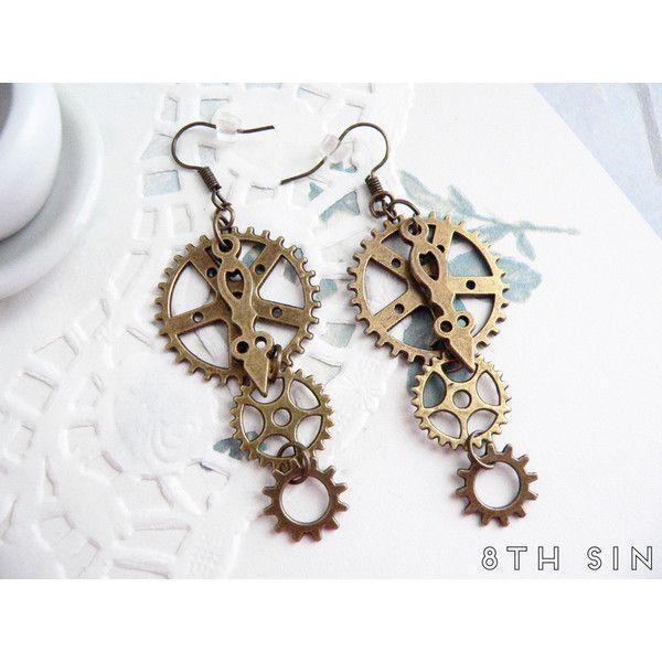 Antique Bronze Gear Earrings, Steampunk Earrings, Clockwork Earrings,... (20 BRL) ❤ liked on Polyvore featuring jewelry, earrings, antique bronze jewelry, brass jewelry, steam punk earrings, earrings jewelry and antique jewellery