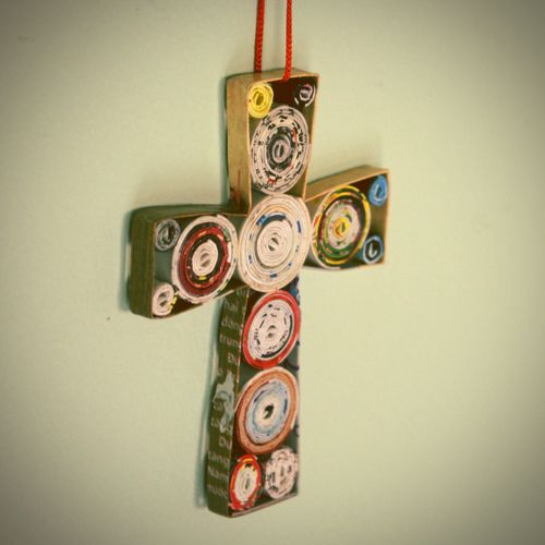 Recycled Paper Cross. What a great project for a lesson about stewardship of our planet.