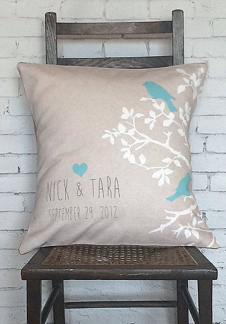 Personalized LOVE BIRDS Wedding Pillow Cotton