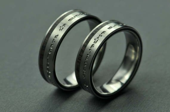 Titanium wedding ring set stabilized ebony by JewelrybyFordos