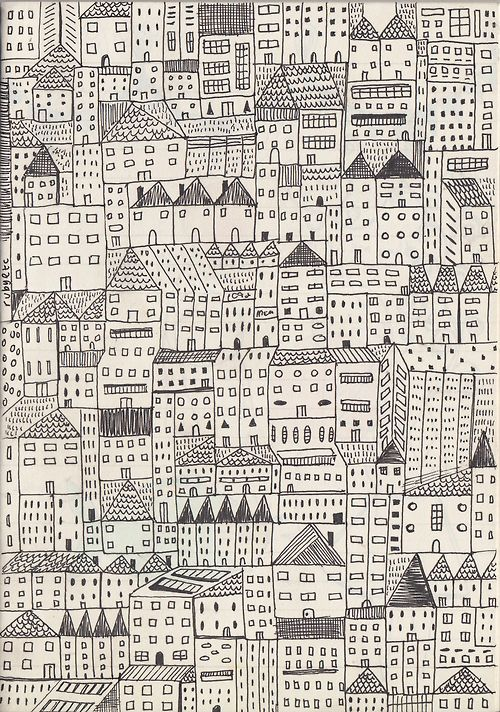 This may be a fabric design but I am intrigued by the idea of embroidering this - lots of houses on top of each other in a monotone - it would need to be a long term project!