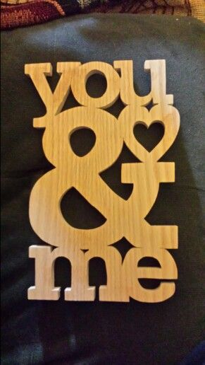 Oak plywood scroll saw cut out.  Anniversary or valentine's day.