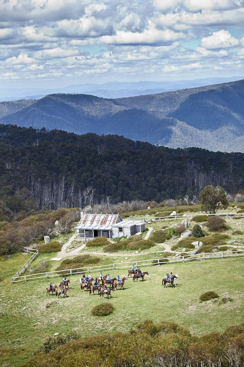 """Wedding photography captured at Craig's Hut, where the movie """"Man From Snowy River"""" was filmed. Image captured from helicopter."""