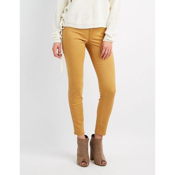 Refuge Skin Tight Legging Jeans ($20) ❤ liked on Polyvore featuring jeans, mustard, refuge jeans, mustard jeans, mustard yellow skinny jeans, flap-pocket jeans and zipper denim jeans