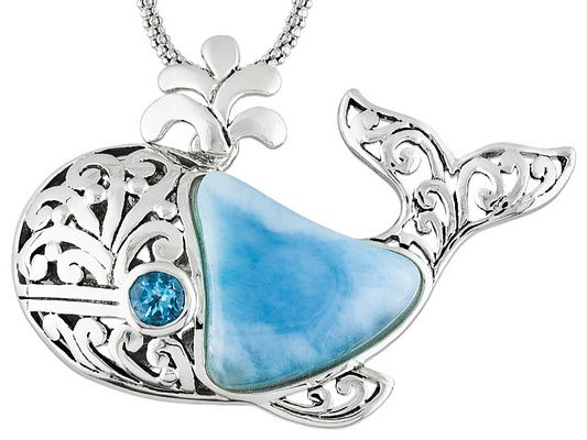 Whale, whale, whale... What do we have here?! A beautiful necklace just for you! - 15x15mm Free Form Cabochon Larimar And .15ct Swiss Blue Topaz Silver Whale Brooch/Pendant With Chain