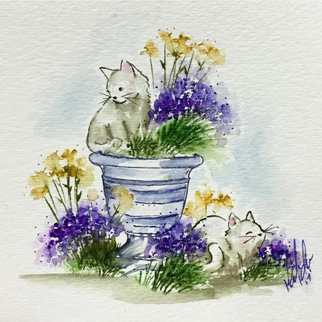 Art Impressions Wonderful Watercolor handmade card with flower pot, grass, flowers, cats, kittens
