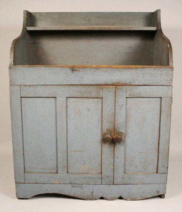 Small Dry Sink In Blue Paint, Mid Atlantic States