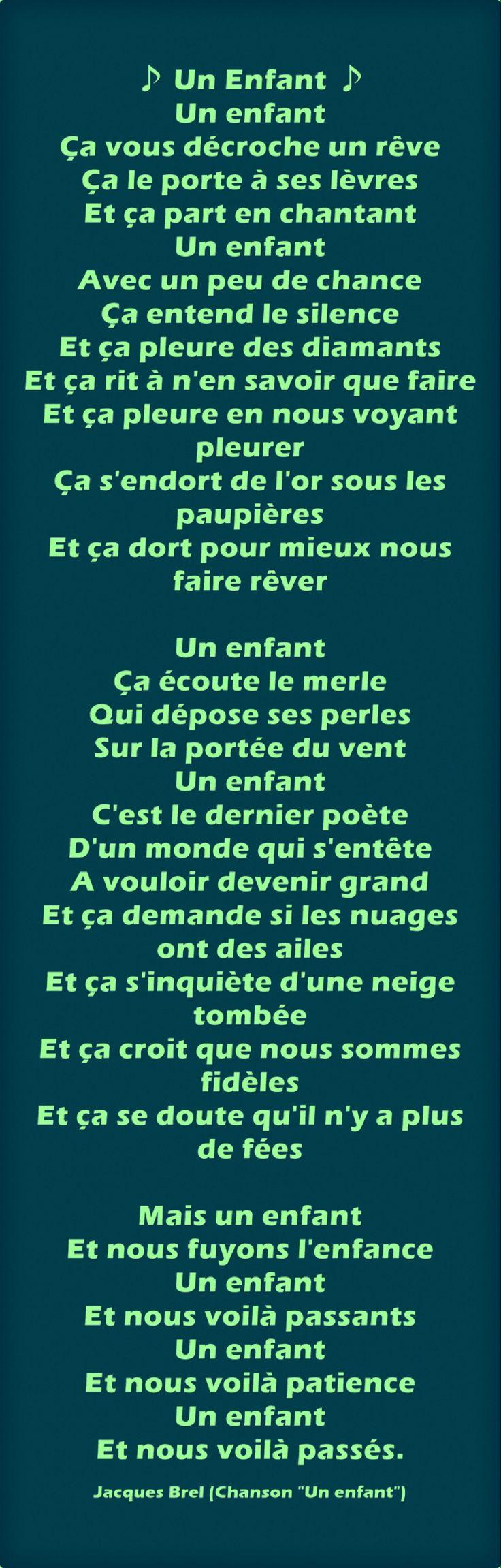 """Jacques Brel """"Un enfant"""" (Chanson)"""