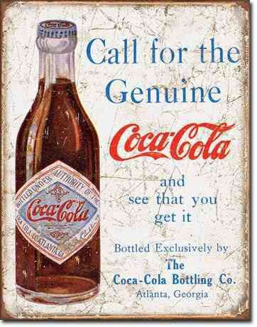 Call For The Genuine Coca Cola TIN SIGN vtg coke bottle ad metal wall decor 1918