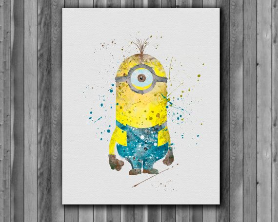 Minion Despicable Me Poster   watercolor Art by digitalaquamarine