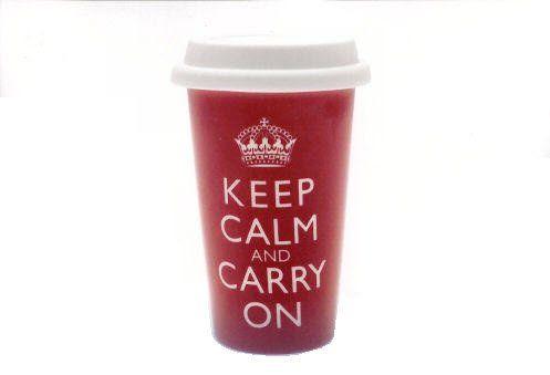 Lesser & Pavey Keep calm and carry on – Taza térmica de porcelana - http://tienda.casuarios.com/lesser-pavey-keep-calm-and-carry-on-taza-termica-de-porcelana-con-tapa-de-silicona-y-texto-en-ingles-color-rojo/