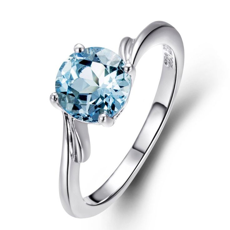 7.0MM Genuine Sky Blue Topaz  Stone  Solid 925 Sterling Silver  Ring