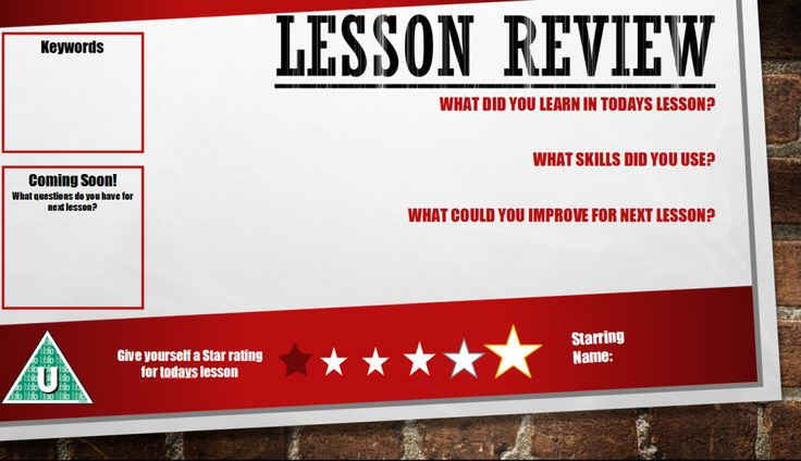 Lesson Review - Good Reflection tool for students to complete as a Plenary activity. Very easy to cater for different subjects