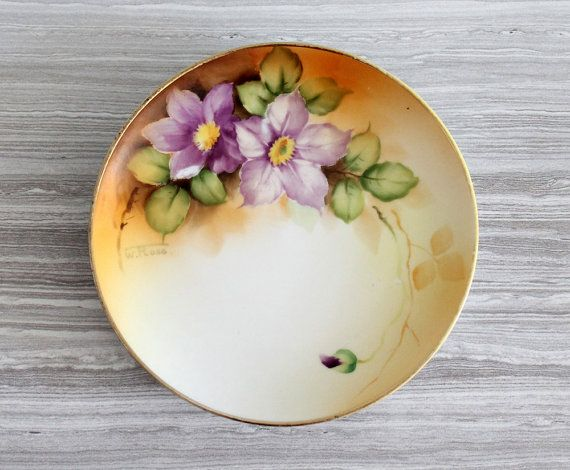 Antique Hand Painted and Signed W. Rose Nippon Yellow and Purple Floral Bread Side Plate