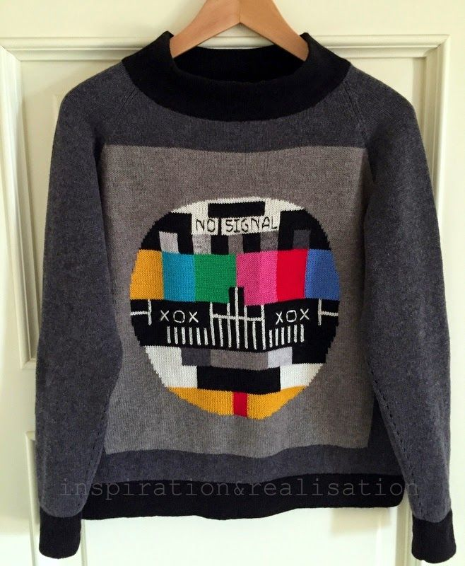 Prolific machine knitter Donatella of inspiration & realisation resurrects the 'no signal' TV screen with this stunning machine knit intarsia sweater!