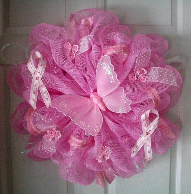 Deco Mesh BREAST CANCER WREATH. $70.00, via Etsy.