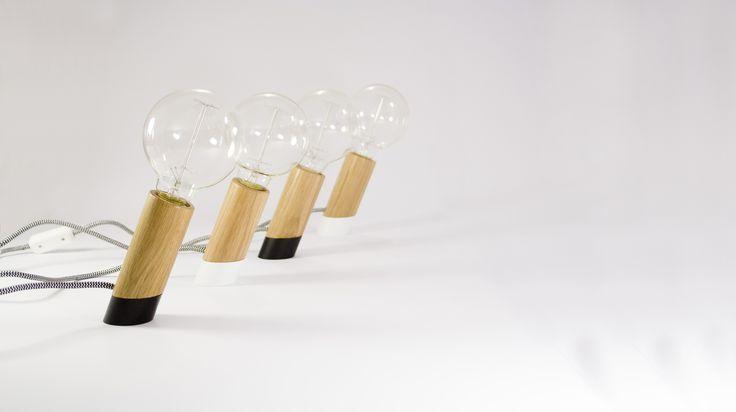 Slant roble, lámpara de roble y hierro - desk lamp - wood lamp