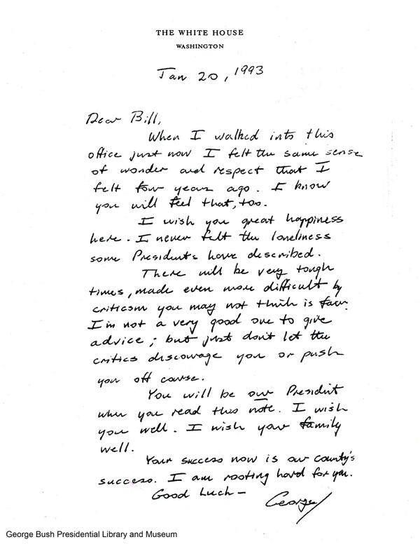 Letter to Bill Clinton from George H W Bush upon taking office - good faith letter