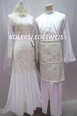 SET NIKAH DRESS BAJU MELAYU WARNA PUTIH