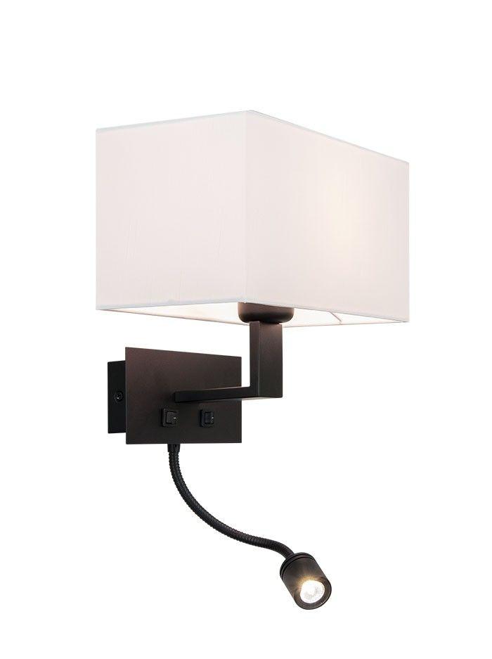 KUBICO Wall zwart met witte kap, incl flexarm - Wandlampen - Binnenverlichting - Webshop