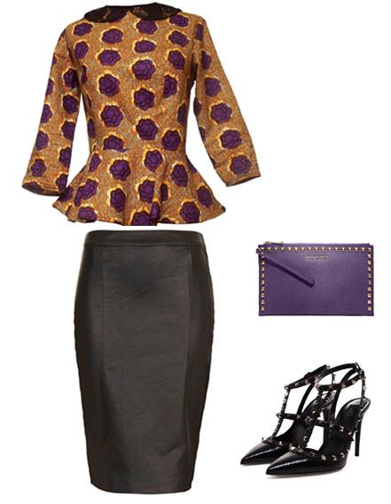 Elegant Peplum top with peter pan lace collars paired with a leather pencil skirt, studed heels, and chic purple clutch