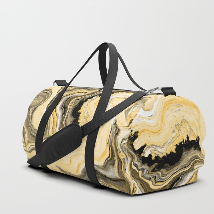 Painted Gold duffle bag by Fimbis     Fluid art, painting, golden, marble, paint, gym bag, luggage, travel, fashionista,    Your new favorite gym and travel bags feature crisp printed designs on durable poly poplin canvas. Premium details include soft polyester lining with interior zip pocket, an adjustable shoulder strap (with foam pad), carrying handles, double zipper pull tabs for easy open/close, and brushed nickel metal hardware.