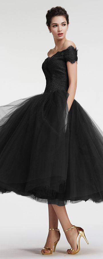 Black vintage homecoming dresses off the shoulder prom dresses ball gown pageant prom dresses tea length