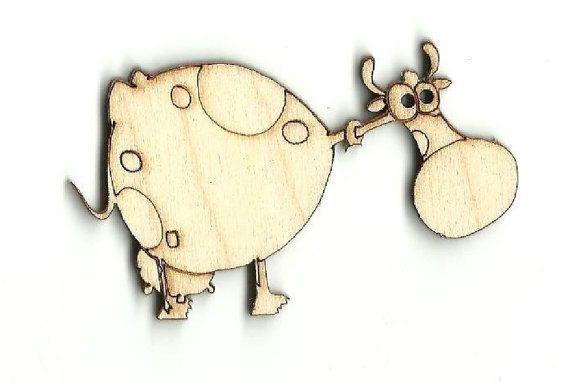 La vaca  grabado Laser corte inacabado fuente de madera de