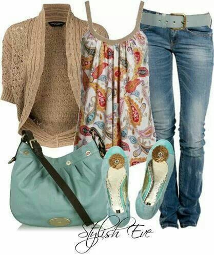 One of my FAVORITE spring outfits on my entire board. I love the gathered floral/paisley tank with short cardi. And I love the robin's egg blue belt, purse and ballerina flats.