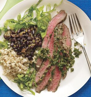 Tuesday Dinner: Chimichurri Flank Steak With Black Beans and Brown Rice