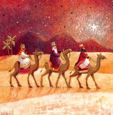 """Three Kings. 137 x 137mm. Gold foil. £4.00. All cards come in packs of 10.  Greeting in cards: """"With Best Wishes for Christmas and the New Year."""""""
