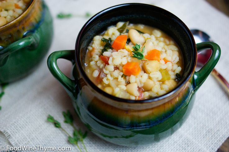 Barley, chickpea, kale soup | Food I love, tried and true | Pinterest