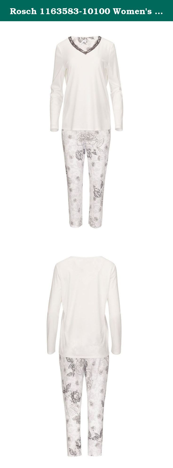 Rosch 1163583-10100 Women's White and Grey Floral Long Sleeve Cotton Pyjamas PJs 1163583-10100 12 US/42 EU. Beautiful white cotton pyjama set, featuring grey floral design on the bottoms, and pretty lace edging on neckline. Treat yourself today.