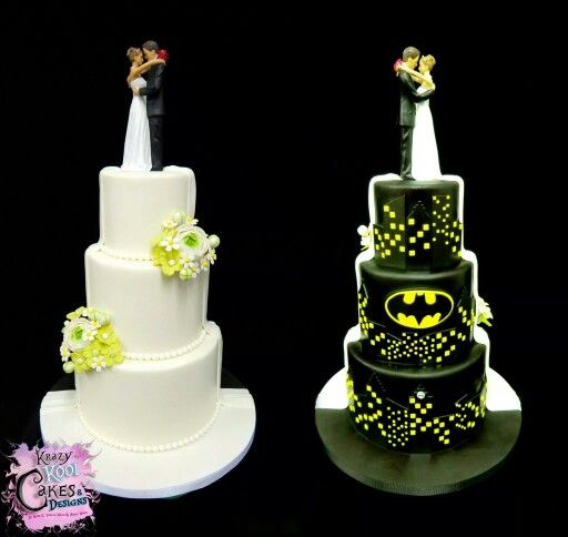 Krazy Kool Cakes & Design | wedding cake - half traditional, half Batman!!