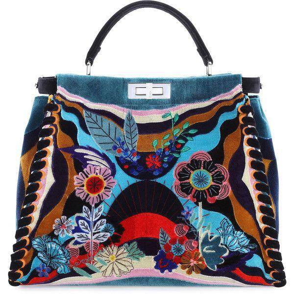 Fendi Peekaboo Large Embroidered Velvet Bag ($13,235) via Polyvore featuring bags, handbags, shoulder bags, black multi, fendi, velvet purses, handle satchel, floral purse and fendi handbags