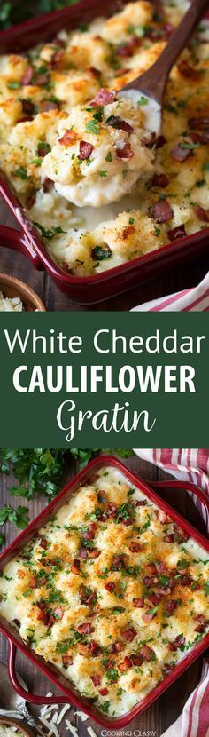 White Cheddar Cauliflower Gratin ~cauliflower and bacon are coated with a rich, creamy, cheesy sauce, covered with Panko and baked to perfection...the perfect comforting side dish on chilly evenings, and the perfect addition to your holiday menu! #thanksgiving #sidedish #recipe #cauliflower #gratin