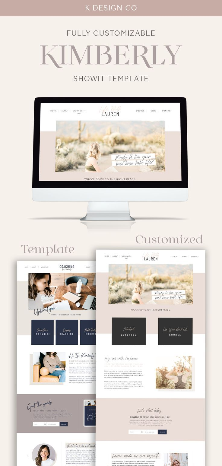 Kimberly Showit Website Template Website Template For Coaches Custom Website Design Consulting Website Showit