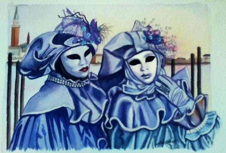 Masques de Venise bleus. Aquarelle, Christine Monsion